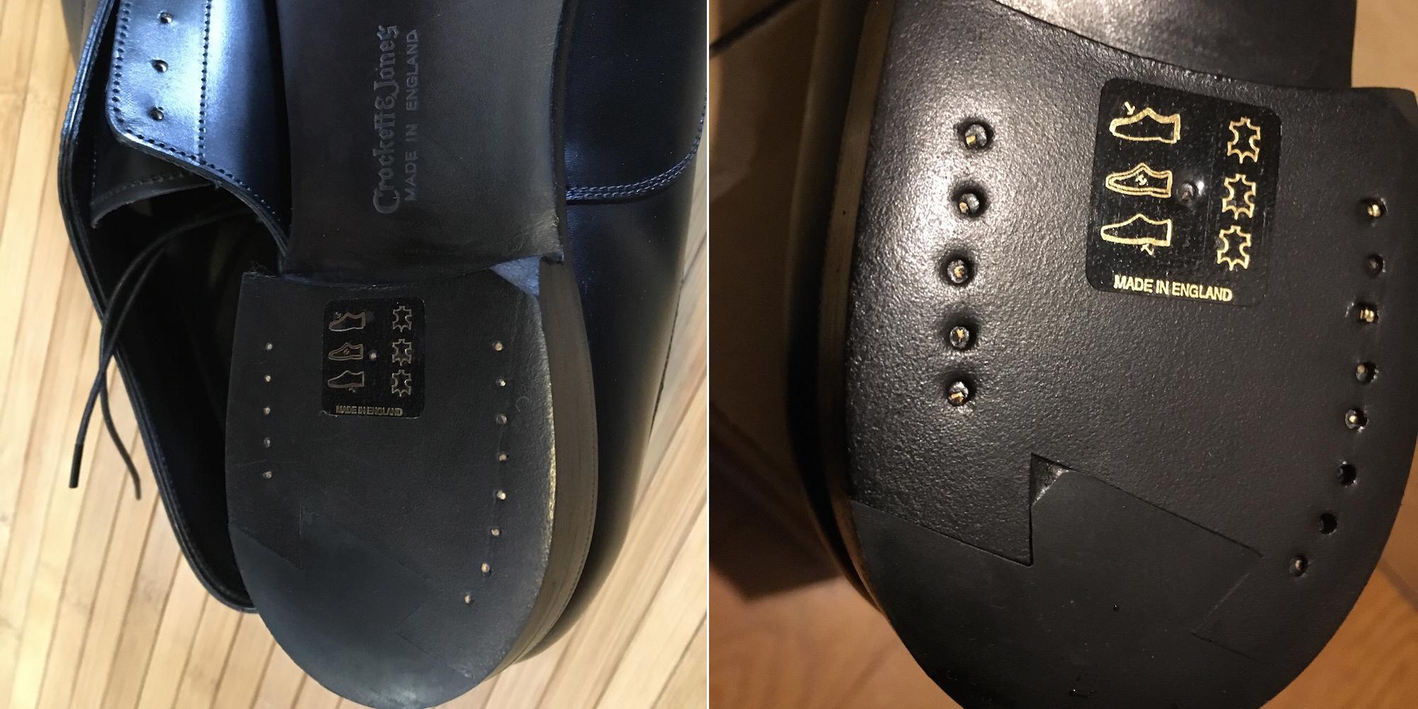 新品の革靴の釘〆